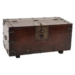 Old Chinese Chest in Wood with Decorations and Bronze Lock, 20th Century