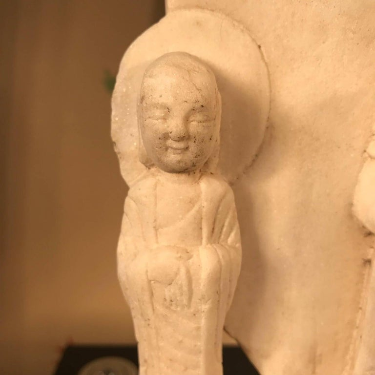 Old Chinese Hand Carved Marble Guan Yin  Buddha with Lovely Face For Sale 8