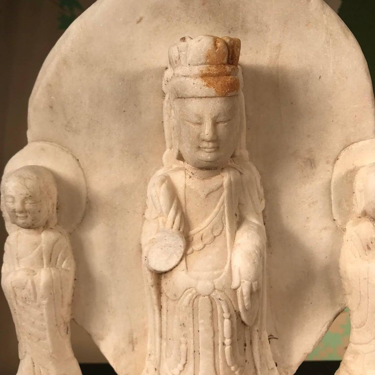 Old Chinese Hand Carved Marble Guan Yin  Buddha with Lovely Face For Sale 6