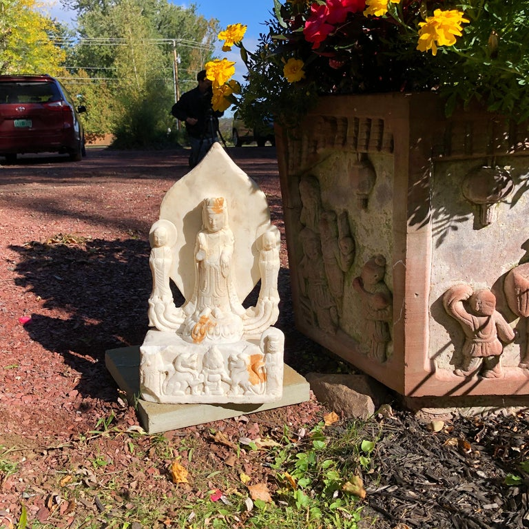 Old Chinese Hand Carved Marble Guan Yin  Buddha with Lovely Face In Good Condition For Sale In Shelburne, VT
