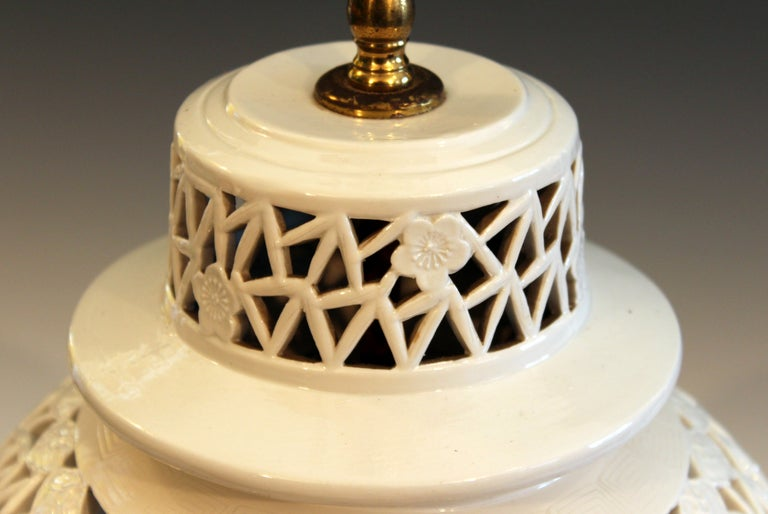 Old Chinese Porcelain Vase Lamp Reticulated White Carved
