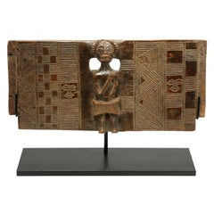Old Chokwe Chair Back with Carved Standing Figure, Early 20th Century, Congo