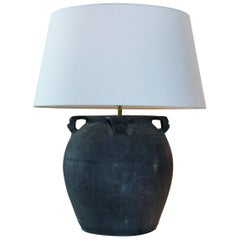 Old Clay Pot, Lamp, Lamp with Linen Shade