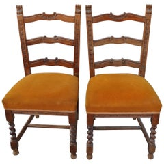 Old Colonial Dining Chairs, Pair