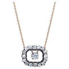 Old Cushion Cut 11.74 Carat GIA Center Diamond Rose Gold Link Necklace