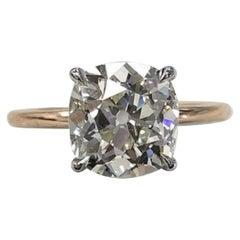 Old Cushion Cut 18 Carat Yellow Diamond Ring 1.21 Carat G VS2