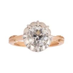 Old Cushion Cut 2.21ct Diamond Ring