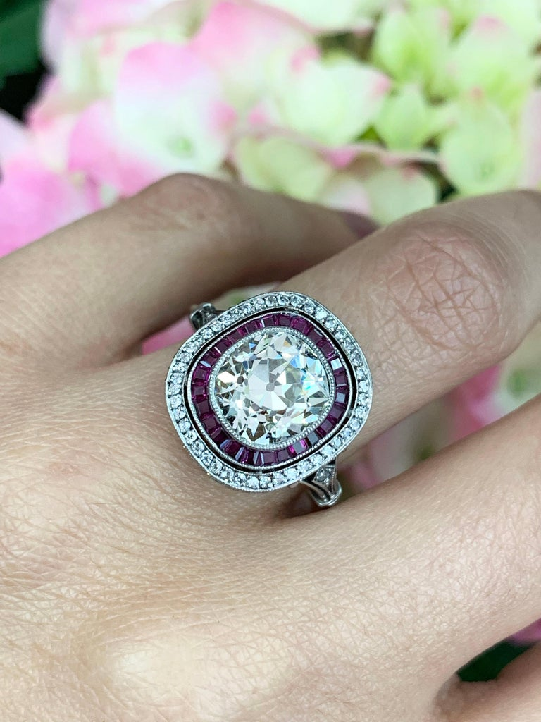 Women's Old Cushion Cut Diamond and Ruby Engagement Ring For Sale