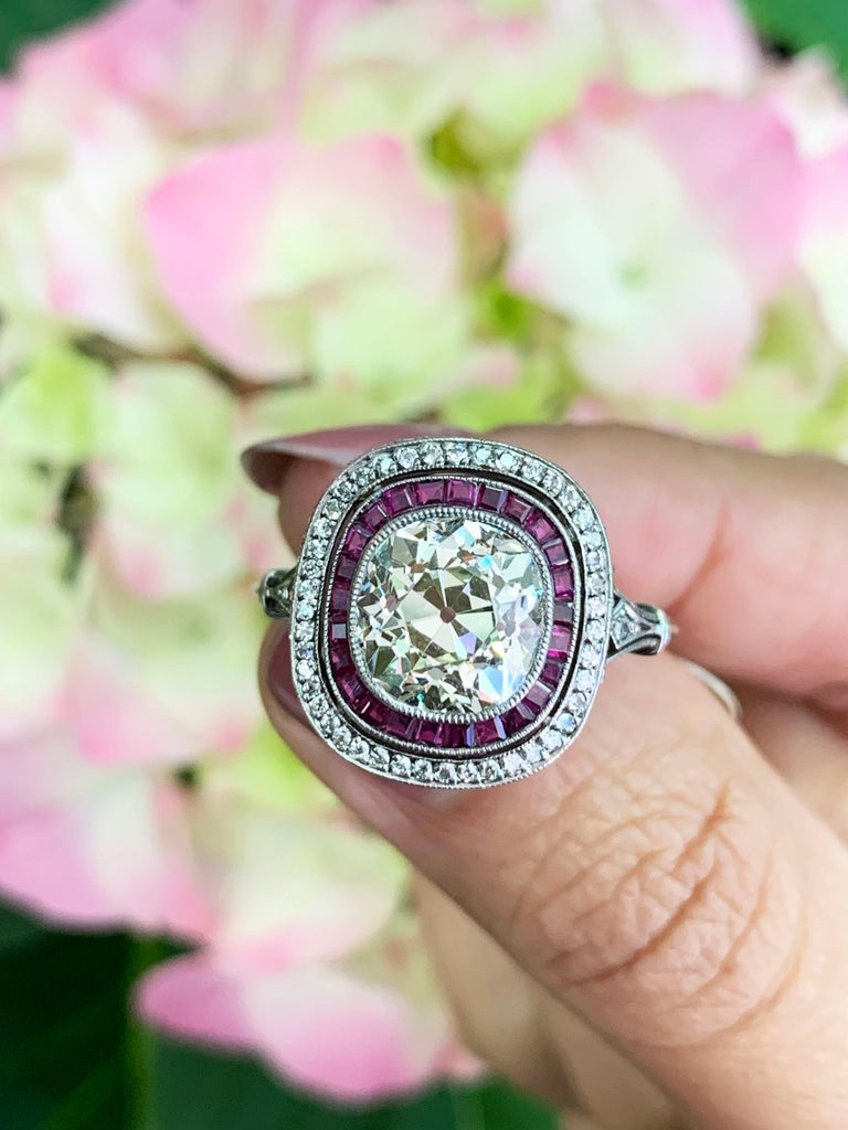 Old Cushion Cut Diamond and Ruby Engagement Ring For Sale 1