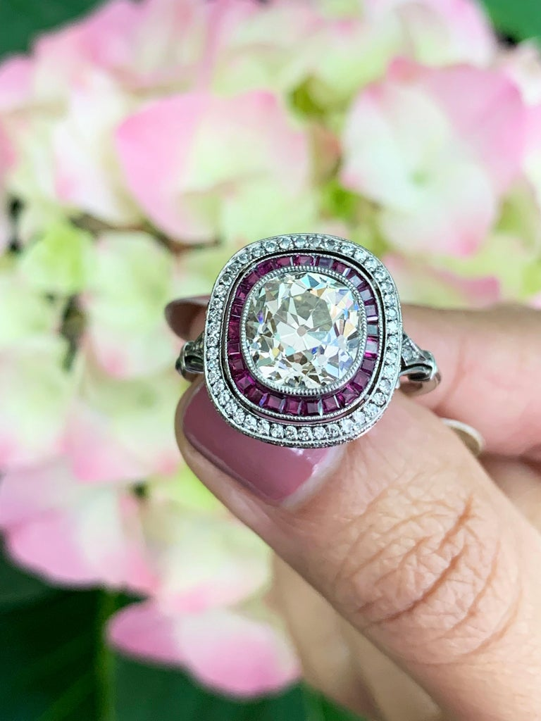 Old Cushion Cut Diamond and Ruby Engagement Ring For Sale 2