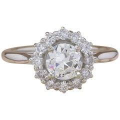 Old Cut 1.20 Carat I VS Diamond Halo Design Ring in 18 Karat White Gold