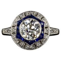 Old Cut 1.50 Carat Diamond Engagement Ring Sapphire Platinum Ring