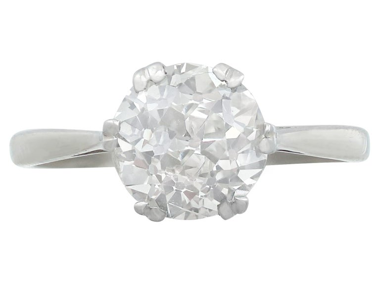 Old European Cut Antique Old Cut 2.31 Carat Diamond and Platinum Solitaire Ring For Sale