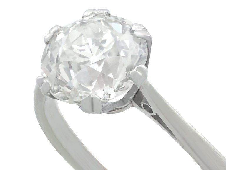 Antique Old Cut 2.31 Carat Diamond and Platinum Solitaire Ring In Excellent Condition For Sale In Jesmond, Newcastle Upon Tyne