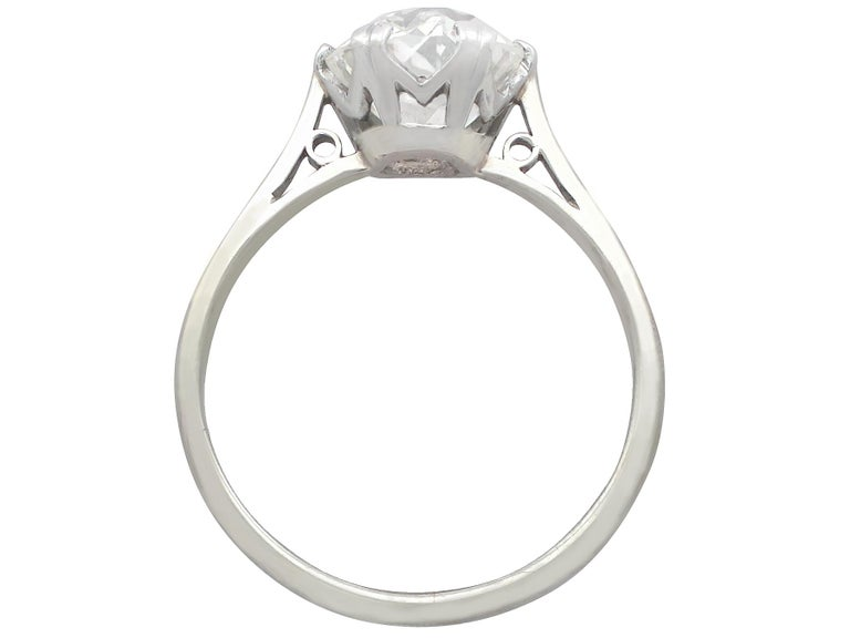 Antique Old Cut 2.31 Carat Diamond and Platinum Solitaire Ring For Sale 1