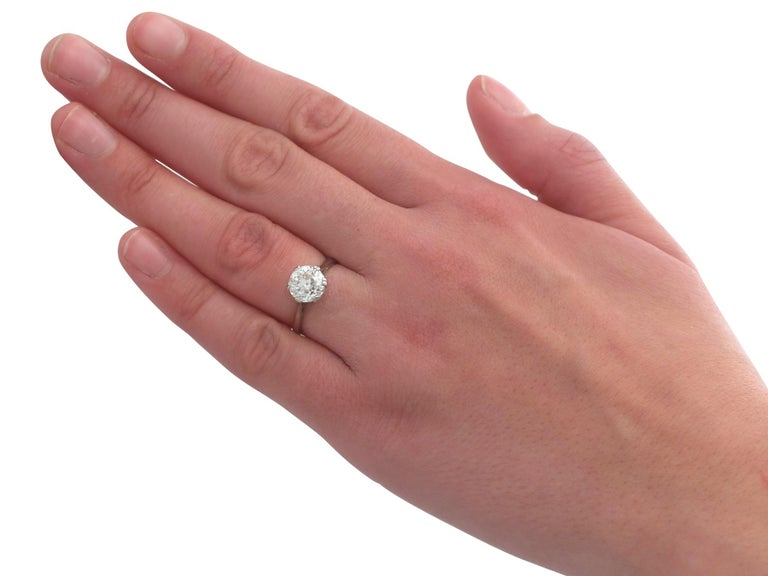 Antique Old Cut 2.31 Carat Diamond and Platinum Solitaire Ring For Sale 2