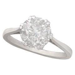 Old Cut 2.31 Carat Diamond and Platinum Solitaire Ring