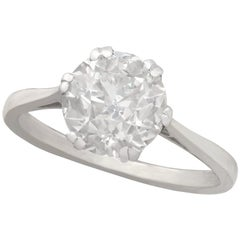 Antique Old Cut 2.31 Carat Diamond and Platinum Solitaire Ring