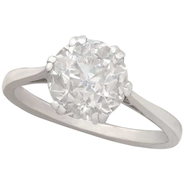 Antique Old Cut 2.31 Carat Diamond and Platinum Solitaire Ring For Sale