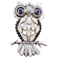 Old Cut and Black Diamonds, Sapphires, White Mother of Pearl Owl Brooch/Pendant