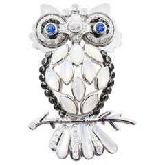 Old Cut and Black Diamonds, Sapphires, and Mother of Pearl Owl Brooch / Pendant