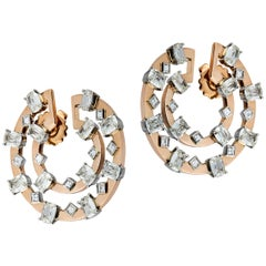Old Cut Cushion and Square Carre Cut Diamond Earring in 18 Karat Rose Gold
