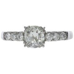 Old-Cut Cushion Diamond Engagement Ring in Handmade Platinum Setting