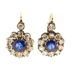 Old Cut Diamond and Sapphire Cluster Earrings