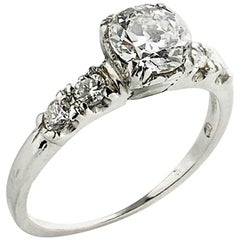 Old Cut Diamond 0.75 Carat Platinum Ring