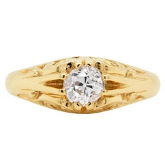 Old Cut Diamond 18 Carat Yellow Gold Carved Gypsy Gents Ring