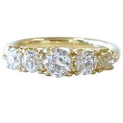 Old Cut Diamond 18 Karat Gold Five-Stone Ring