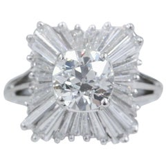 Old Cut Diamond 2.28 Carat Ballerina Ring with Tapered Baguettes in Platinum