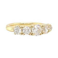 Old Cut Diamond 5-Stone 18 Karat Gold Ring Jack Weir and Sons