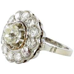 Old Cut Diamond Cluster Ring in Platinum