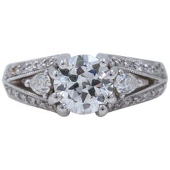 Old Cut Diamond Engagement Ring 1.30 Carat in 18 Karat White Gold