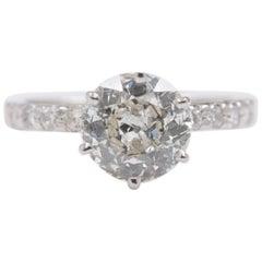 Old Cut Diamond Engagement Ring 1.94 Carat Set in 14 Karat White Gold