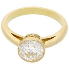 Old Cut Diamond Engagement Ring in 18 Karat Yellow Gold