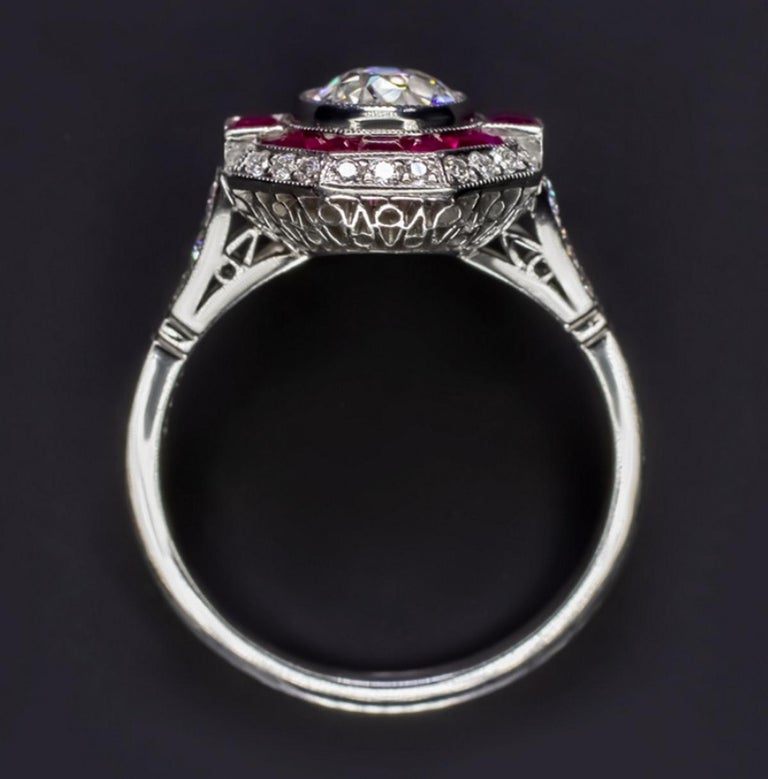 Art Deco Old Cut Diamond Engagement Ring Ruby Platinum For Sale