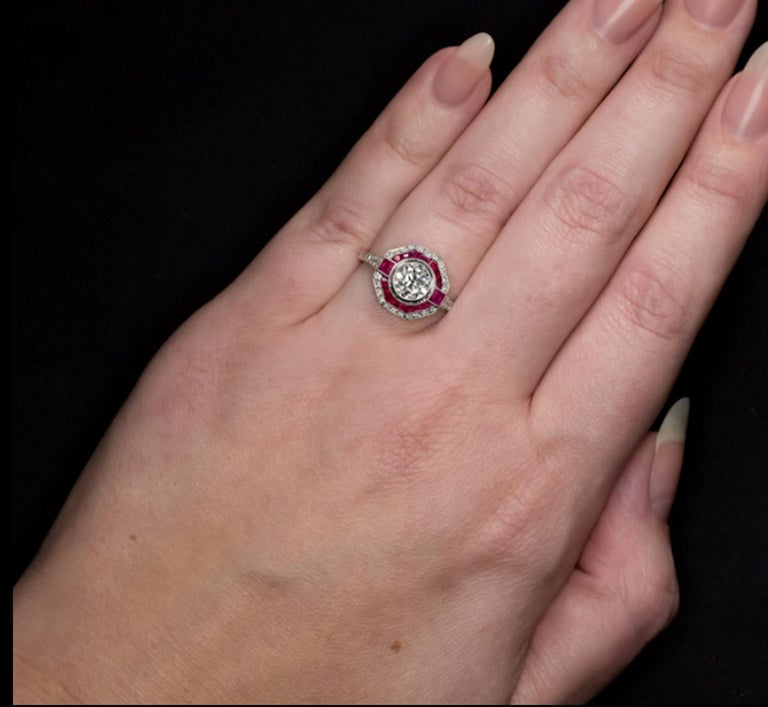 Old European Cut Old Cut Diamond Engagement Ring Ruby Platinum For Sale