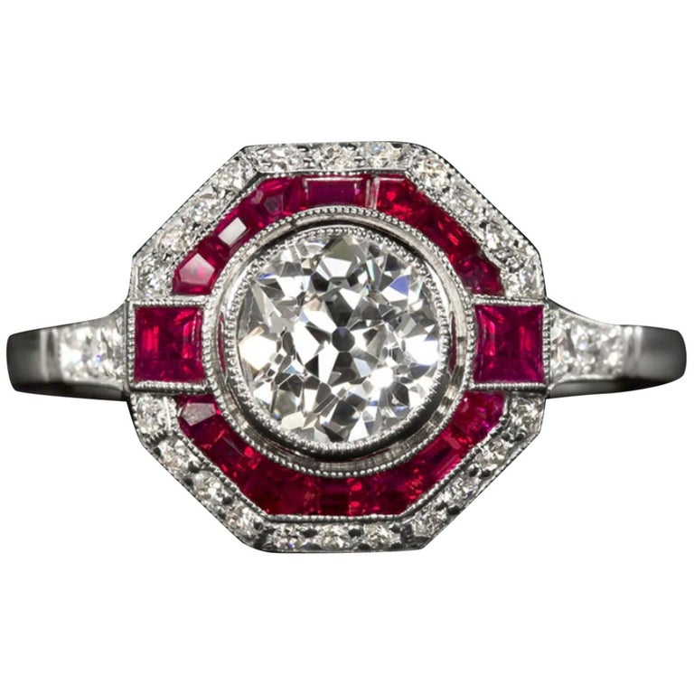 Old Cut Diamond Engagement Ring Ruby Platinum For Sale