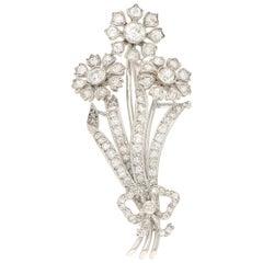 Old Cut Diamond Flower Bouquet Brooch in Platinum