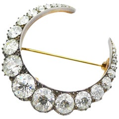 Old Cut Diamond Gold and Silver Crescent Moon Antique Brooch