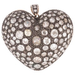 Old Cut Diamond Heart Pendant
