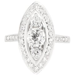 Old Cut Diamond Marquise Shaped Platinum Dress Ring