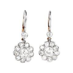 Old Cut Diamond Platinum 18k Gold Flower Dangle Earrings