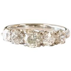 Old Cut Diamond Platinum Five-Stone Platinum Ring