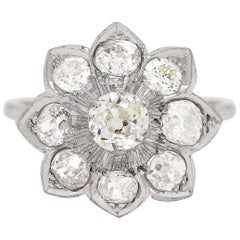 Old Cut Diamond Platinum Flower Cluster Dress Ring, circa 1930s