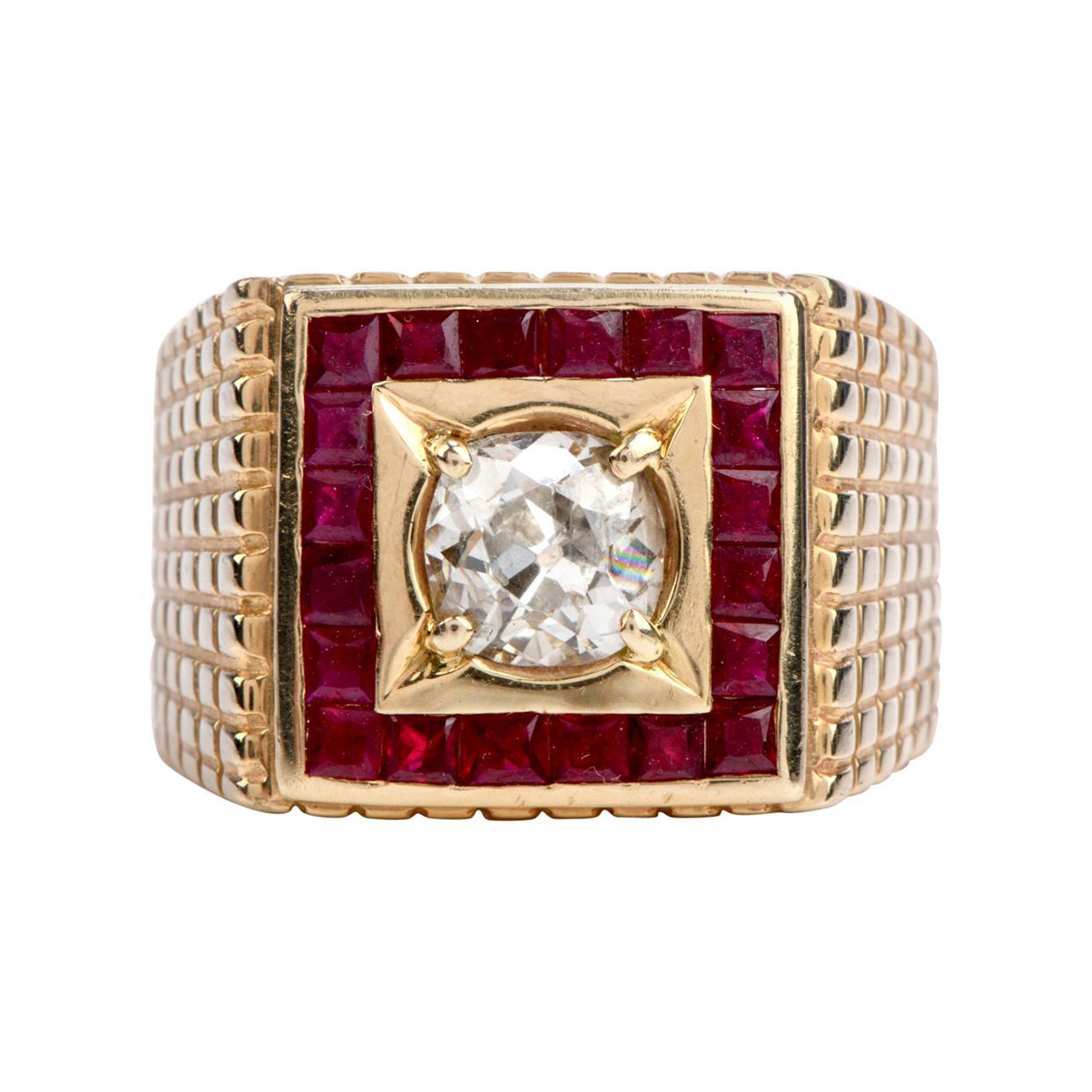 Old Cut Diamond Ruby 14 Karat Gold Retro Textured Men's Ring