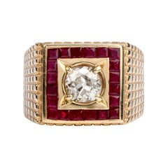 Old Cut Diamond Ruby 14 Karat Gold Retro Textured Men's Ring