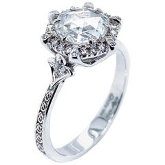 Old Cut GIA Certified Diamond Engagement Ring in 18 Karat White Gold